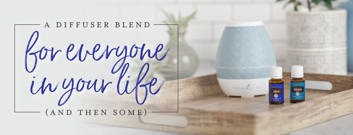 A diffuser and two essential oil bottles in a kitchen with the text A diffuser blend for everyone in your life (and then some)
