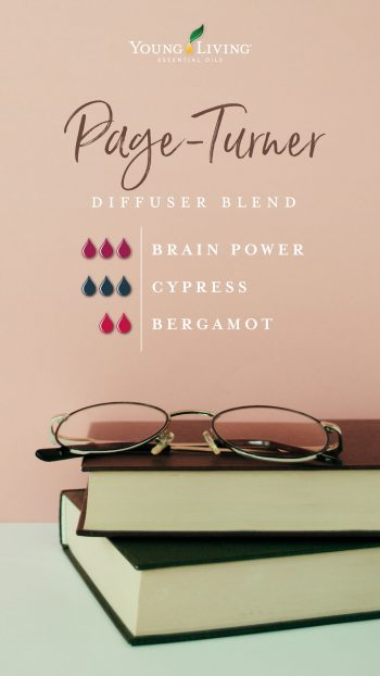 Page-Turner diffuser blend 3 drops Brain Power 3 drops Cypress 2 drops Bergamot