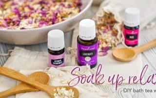 bowls of diy bath tea with essential oils, epsom salt, and flower petals