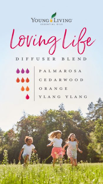 Loving Life diffuser blend: 3 drops Palmarosa essential oil, 3 drops Cedarwood essential oil, 2 drops Orange essential oil, 1 drop Ylang Ylang essential oil