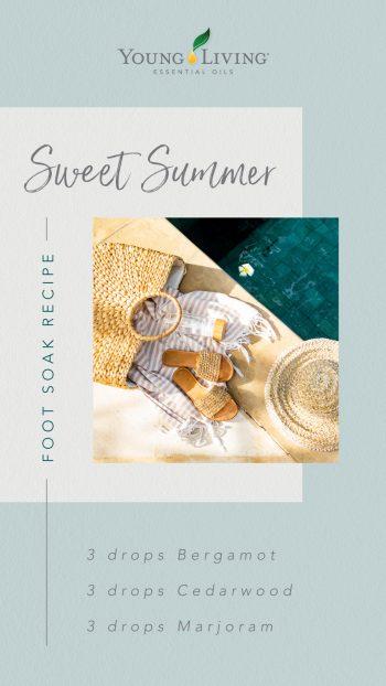 Sweet Summer foot soak recipe: 3 drops Bergamot, 3 drops Cedarwood, 3 drops Marjoram