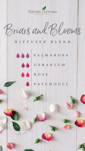 3 drops Palmarosa 2 drops Geranium 2 drops Rose 1 drop Patchouli