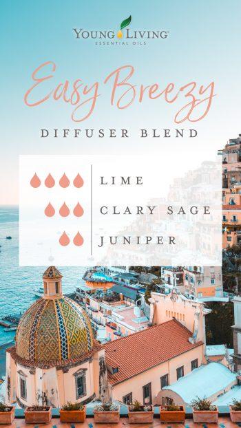 easy breezy diffuser blend recipe: 4 drops lime, 3 drops clary sage, 2 drops juniper