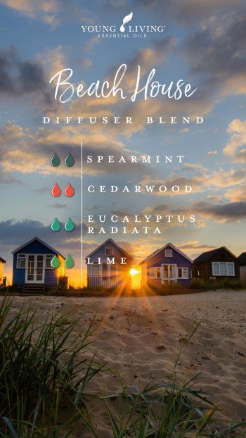 beach house diffuser blend: 2 drops spearmint, 2 drops Cedarwood, 2 drops Eucalyptus Radiata, 2 drops Lime