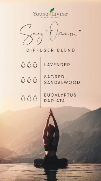 3 drops lavender 3 drops sacred sandalwood 3 drops eucalyptus radiata
