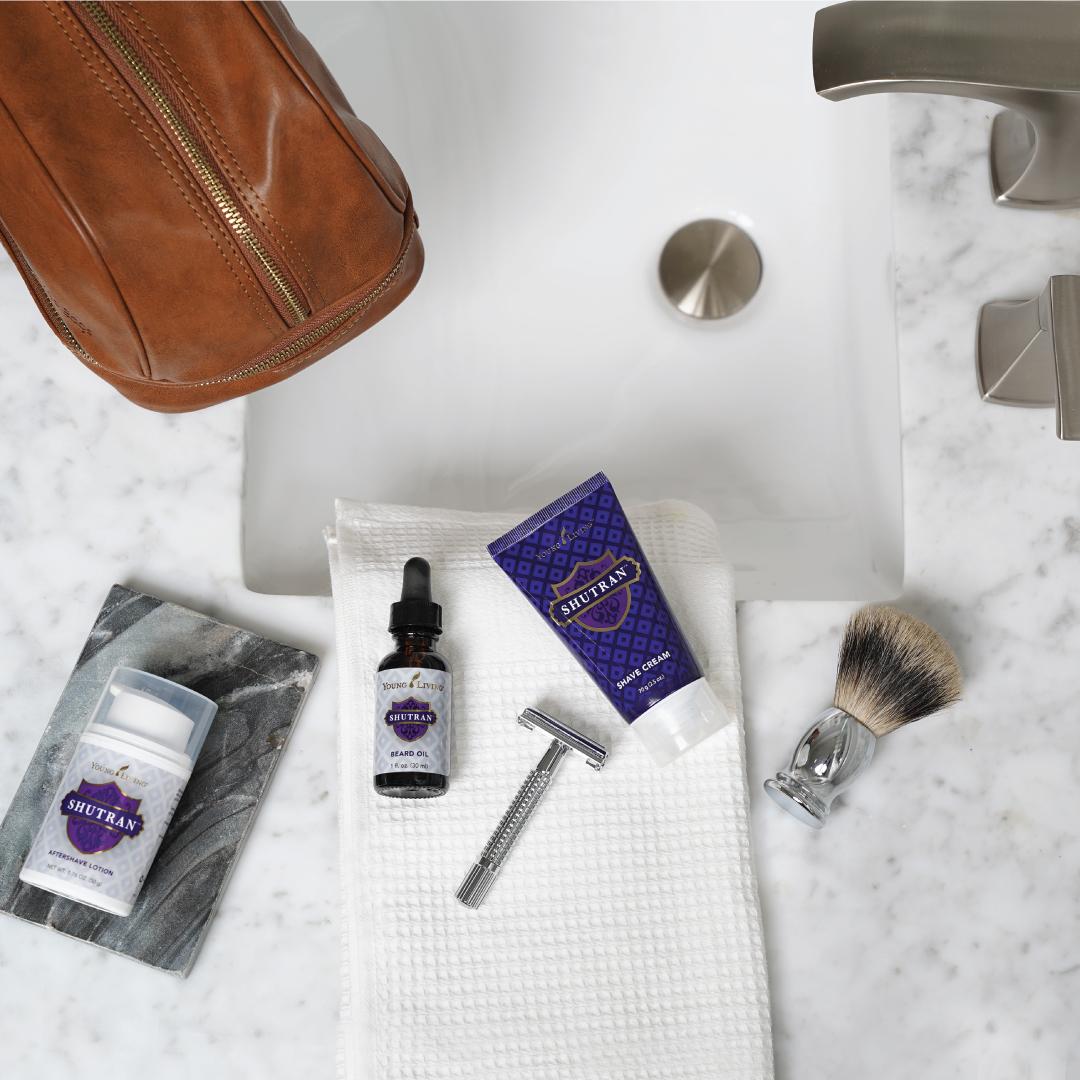 shutran shaving kit with various creams, oils, and bars