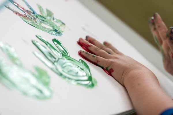a child finger painting