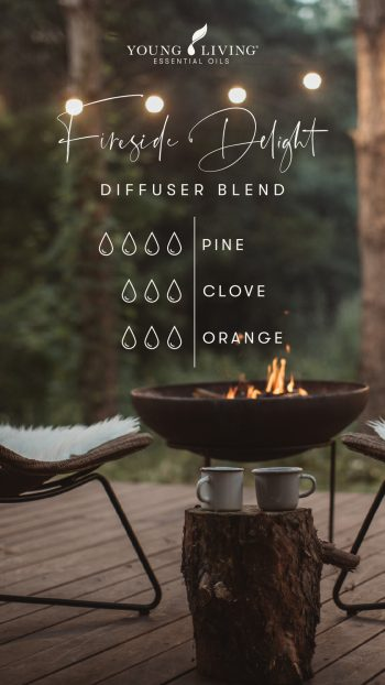 Fireside Delight diffuser blend 4 drops Pine 3 drops Clove 3 drops Orange