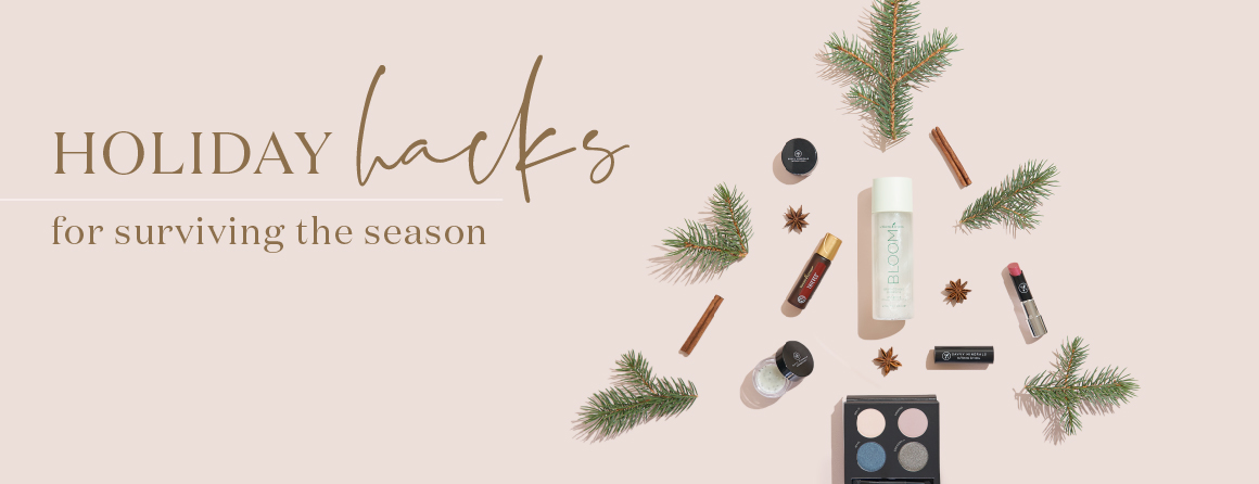Holiday hacks for surviving the season. Christmas tree styled out of pine needles, essential oils and beauty products