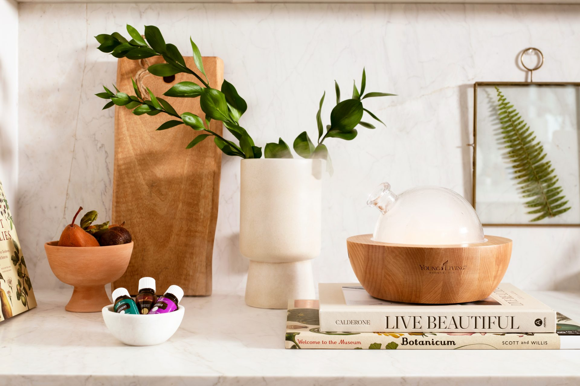 Young living essential oils and Aria diffuser in a beautiful space