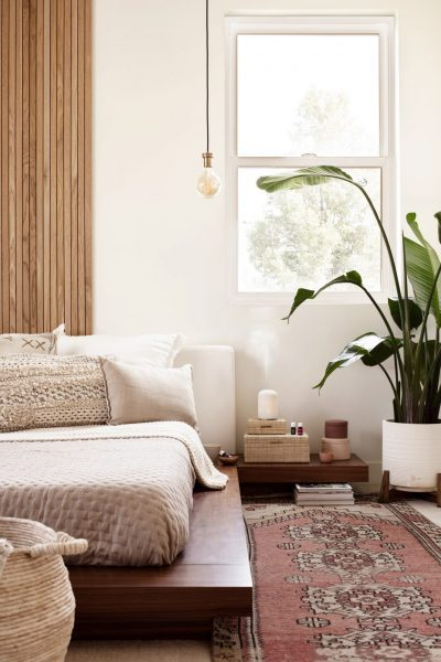 Peaceful and clean bedroom with young living products