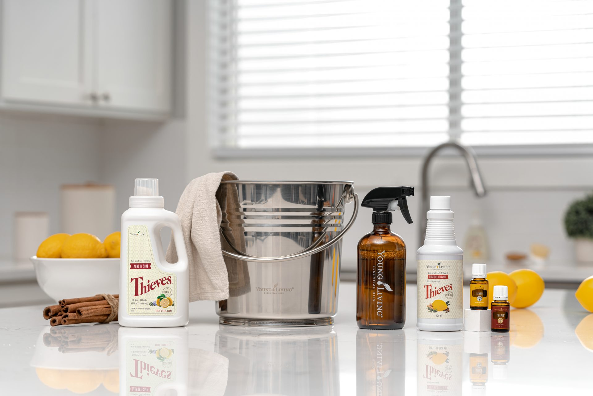 Thieves Household cleaner and cleaning products in kitchen