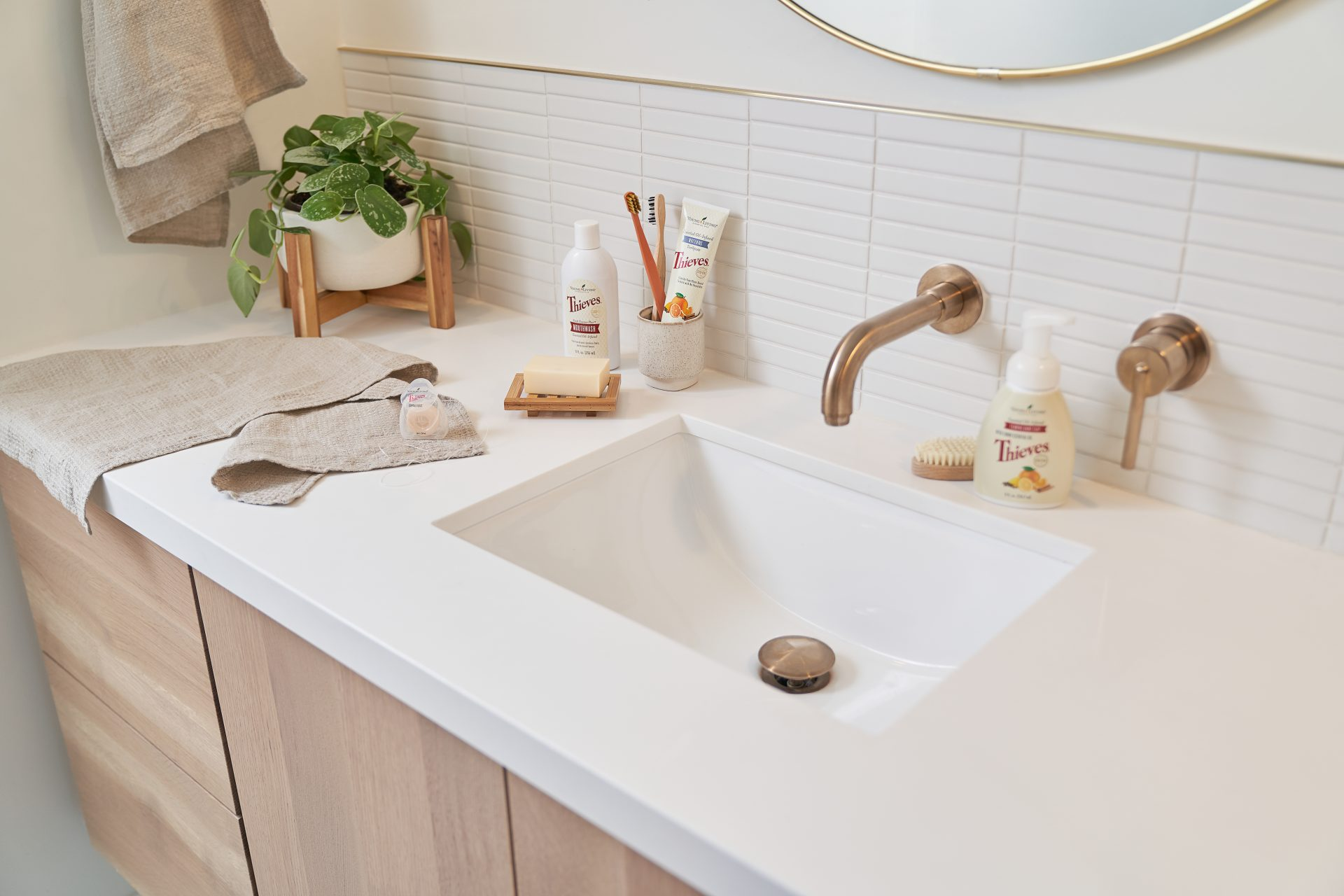 Clean bathroom with young living products