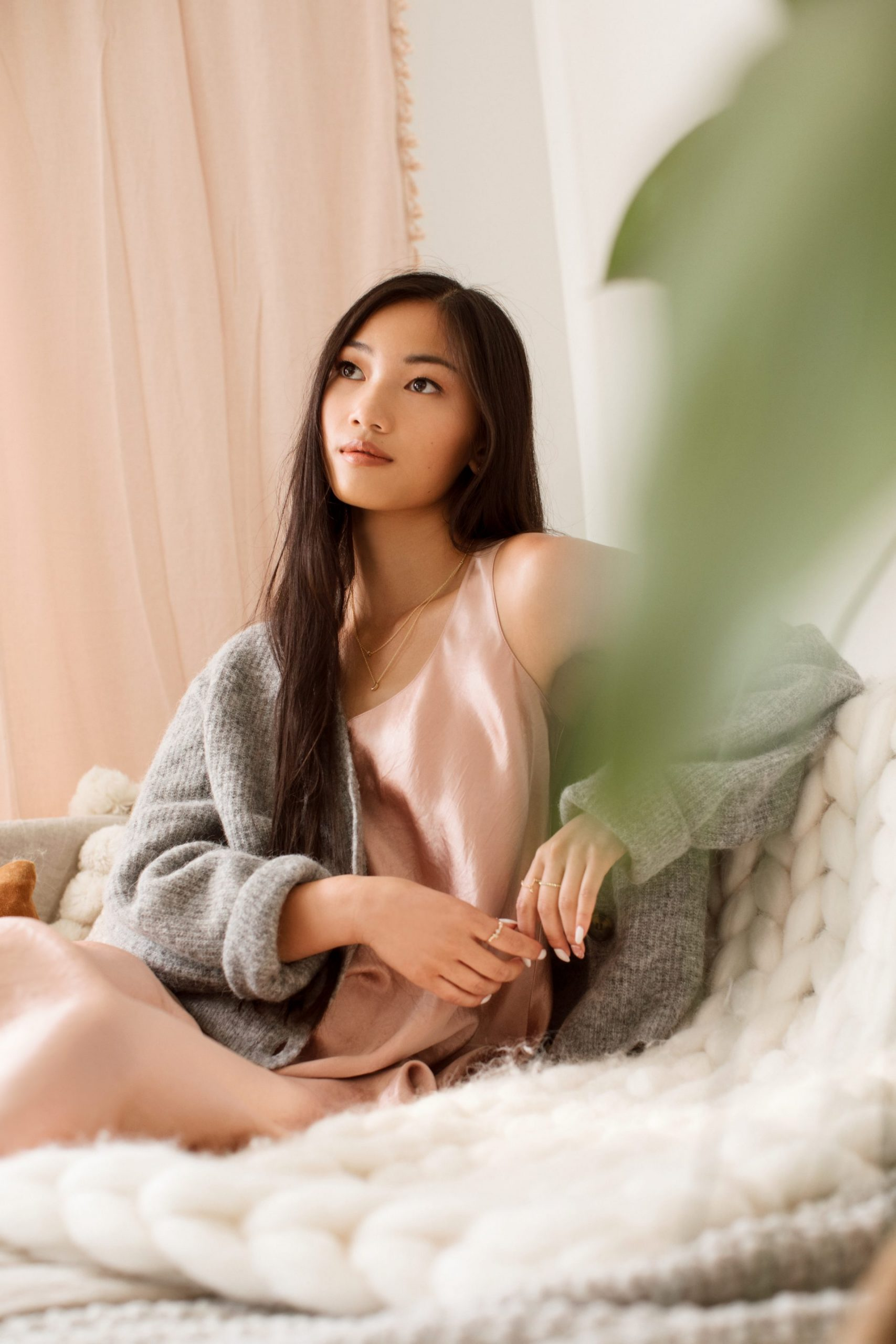 Girl relaxing on cozy couch.