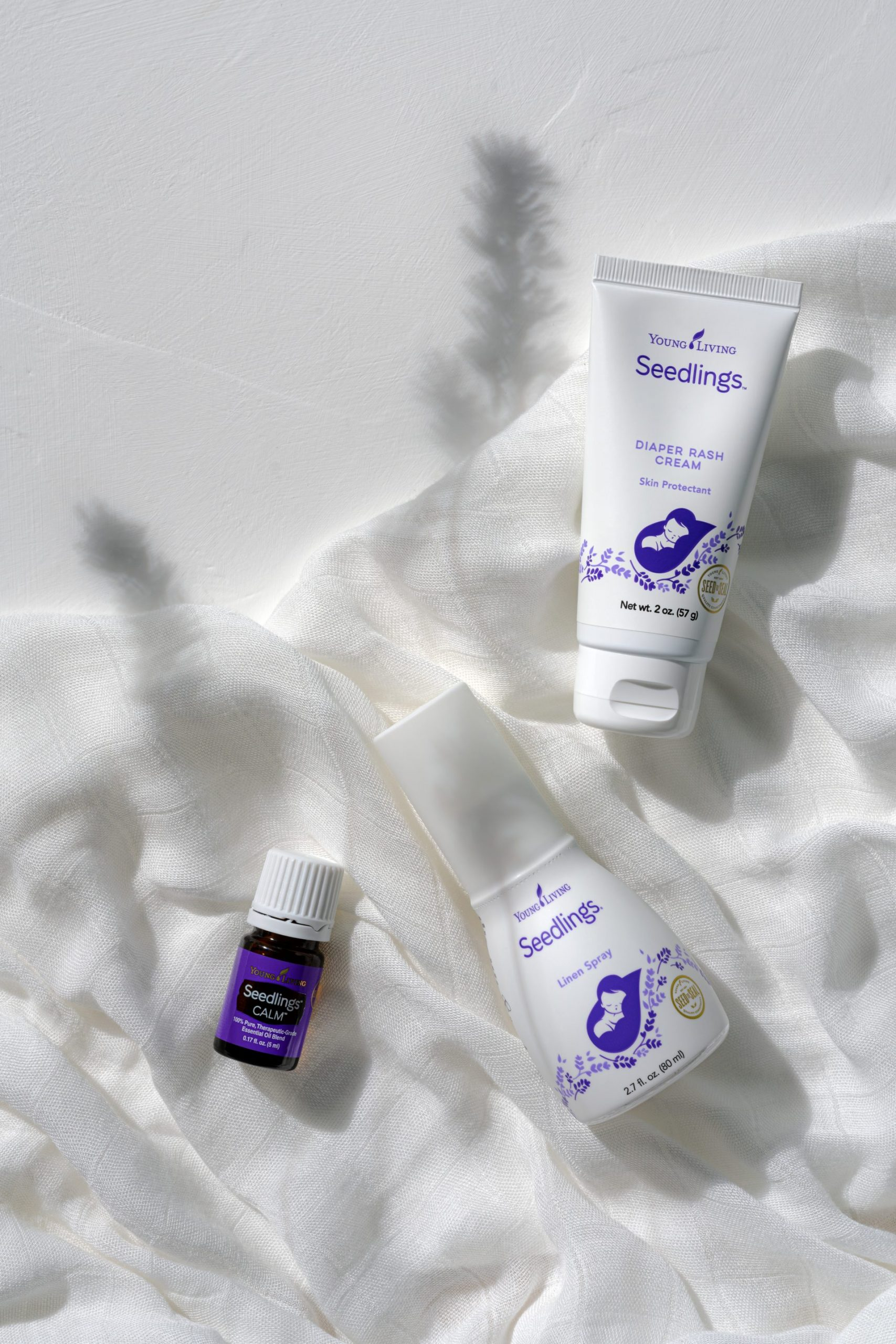 Seedlings Diaper Rash Cream, Seedlings Linen Spray, & Seedlings Calm Essential Oil Blend - Young Living Essential Oils