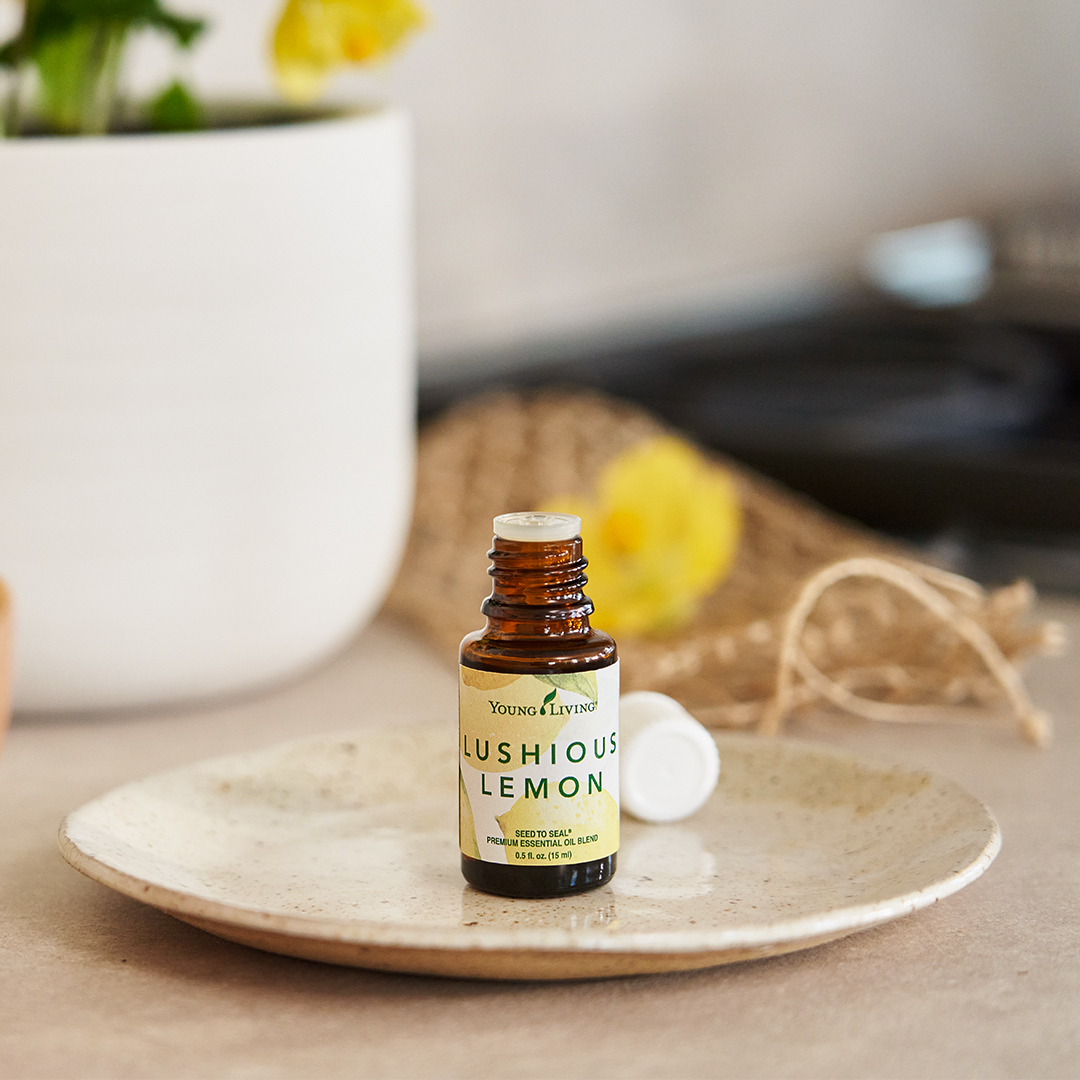 Lushious Lemon Essential Oil sitting on a dish - Young Living Lavender Life Blog
